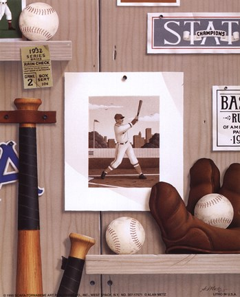 Framed Baseball 36 Print