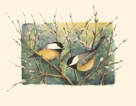 Chickadees and Pussy Willow Art