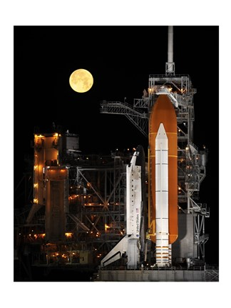 Framed Space Shuttle Discovery under a Full Moon Print