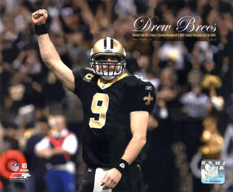 Framed Drew Brees Sets the NFL Single-Season Passing Yards Record with Overlay Print