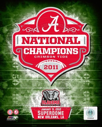 Framed University of Alabama Crimson Tide 2012 BCS National Champions Team Logo Print