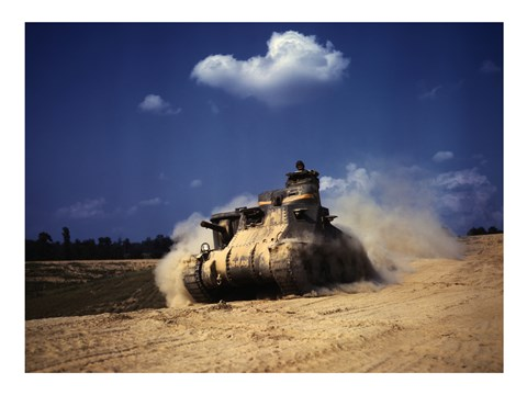 Framed M3 Lee Tank, Training Exercises, Fort Knox, Kentucky Print