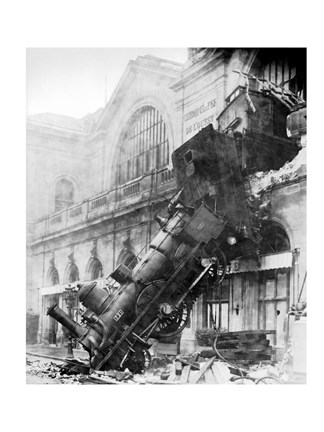Framed Train Wreck at Montparnasse 1895 Print