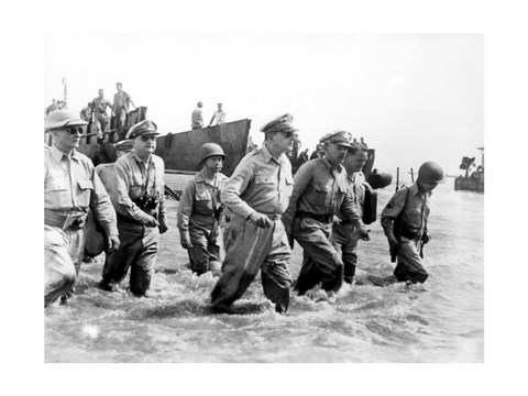 Framed Gen. Douglas MacArthur Wades Ashore During Initial Landings at Leyte, Philippine Islands Print