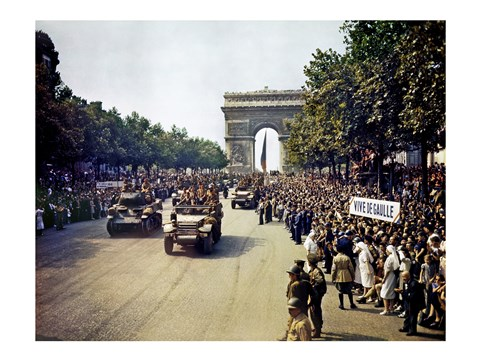 Framed Crowds of French Patriots Line the Champs Elysees Print