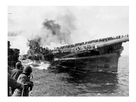 Framed Attack on Carrier USS Franklin March 1945 Print