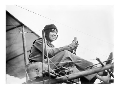 Aviator Helene Dutrieu Seated in Her Airplane