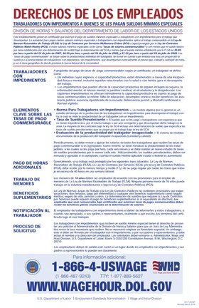 Framed Employee Rights for Workers with Disabilities Minimum Wage Spanish Version 2012 Print