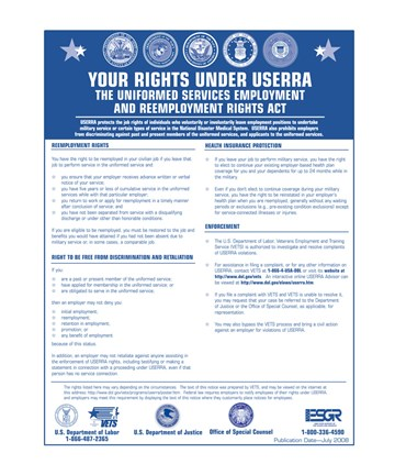 Framed USERRA Uniformed Services Employment and Reemployment Rights Act Print