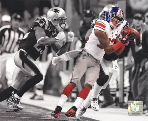 Framed Mario Manningham Catch Spotlight Super Bowl XLVI Print