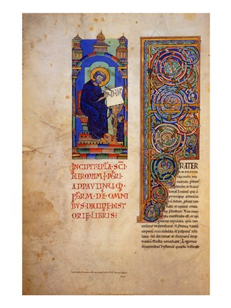 Framed St Jerome with the Decorated Initial to His Prologue Print