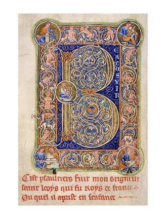 Framed Illuminated Manuscript, Psalter. Inhabited Initial B of Psalm 1 Print