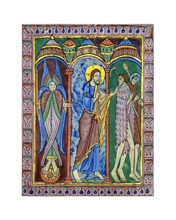 Framed Albans Psalter: Expulsion from Paradise Print