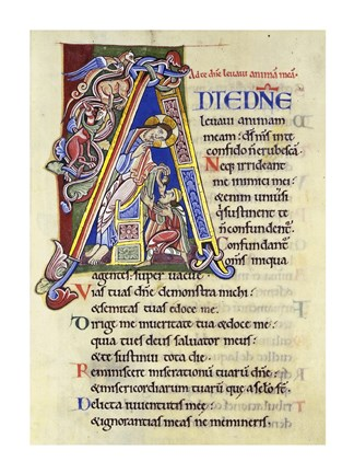 Framed Psalm 24, Initial A. In Albani Psalter Print
