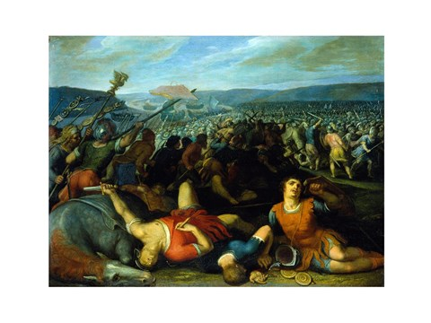 Framed Batavians Defeating Romans on the Rhine Print