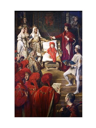 Framed Philip I, the Handsome, Conferring the Order of the Golden Fleece on his Son Charles of Luxembourg Print