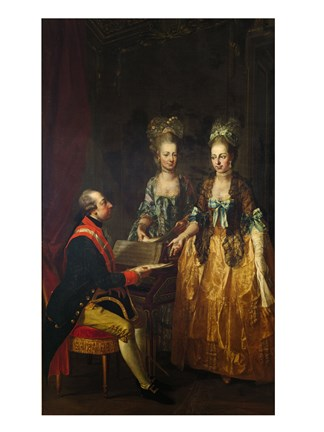 Framed Portrait of Emperor Joseph II at the Piano with His Sisters Maria Anna and Maria Elisabeth Print