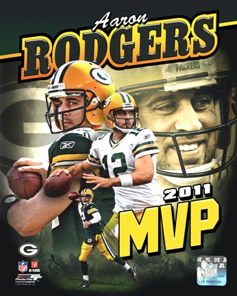 Framed Aaron Rodgers 2011 NFL MVP Portrait Plus Print