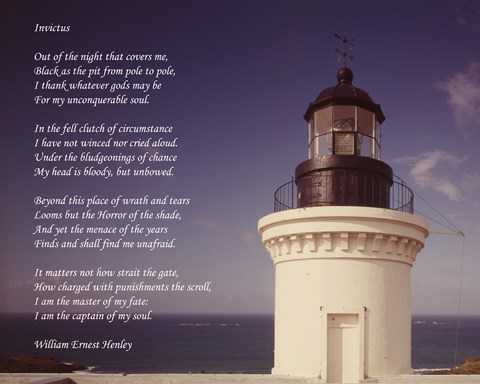 Invictus Poem Lighthouse Fine Art Print By Unknown At