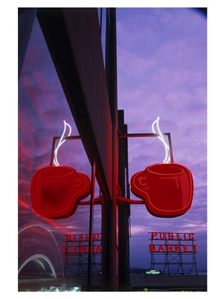 Framed Coffee Cup Neon Sign Lit Up at Dusk Print