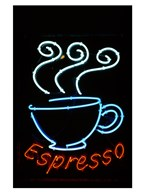 Glowing Neon Sign of an Espresso Coffee Cup