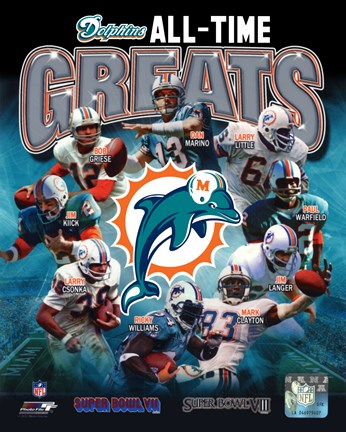 Framed Miami Dolphins All Time Greats Composite Print