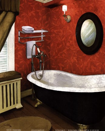 Framed Red Farmhouse Bath I Print
