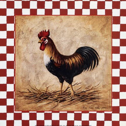 Country Rooster Fine Art Print By Peggy Thatch Sibley At