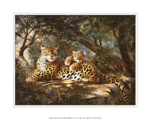 Framed Leopard with Cub Print