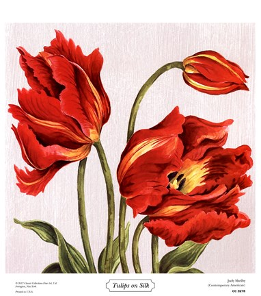 Framed Tulips on Silk Print