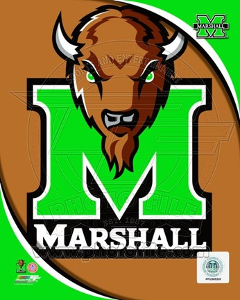 Framed Marshall University Thundering Herd Team Logo Print