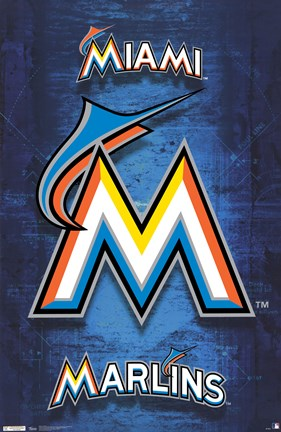 Framed Marlins - Logo 12 Print