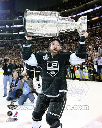 Framed Justin Williams with the Stanley Cup Trophy after Winning Game 6 of the 2012 Stanley Cup Finals Print
