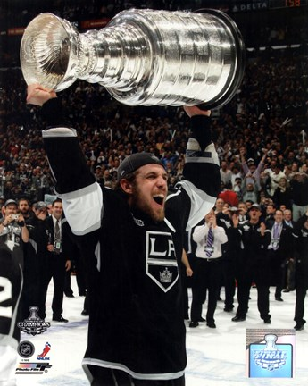 Framed Anze Kopitar with the Stanley Cup Trophy after Winning Game 6 of the 2012 Stanley Cup Finals Print