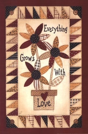 Framed Everything Grows With Love Print