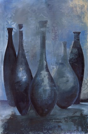Framed Vases in Blue II Print
