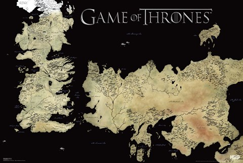 Framed Game of Thrones - Map Print