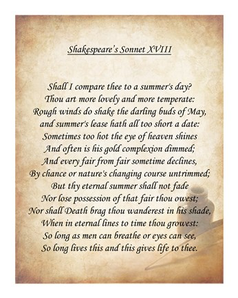 Shakespeare S Sonnet 18 Fine Art Print By Unknown At