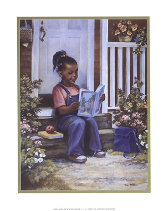 Framed Girl with Book Print