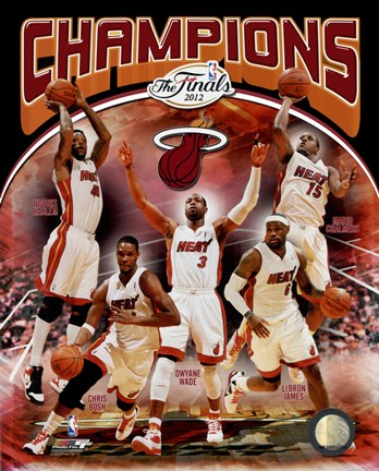 Framed Miami Heat 2012 NBA Champions Composite Print