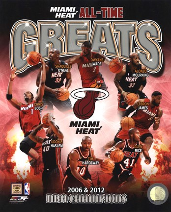 Framed Miami Heat All Time Greats Pictures Composite Print