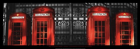 Framed Red Telephone Boxes, London Print