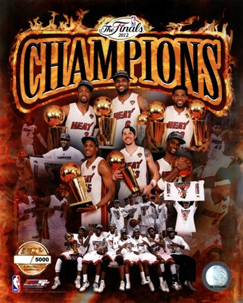 Framed Miami Heat 2012 NBA Champions PF Gold Composite Print