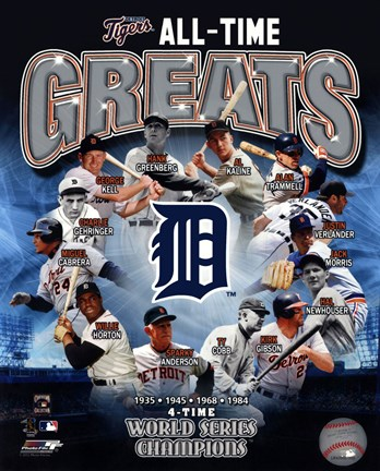 Framed Detroit Tigers All Time Greats Composite Print