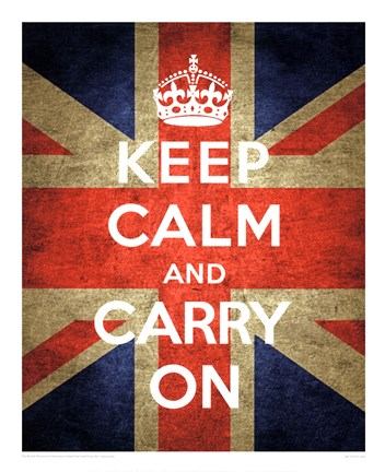 Framed Keep Calm and Carry On - Union Jack Print