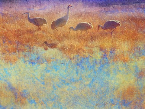 Framed Cranes in Soft Mist Print