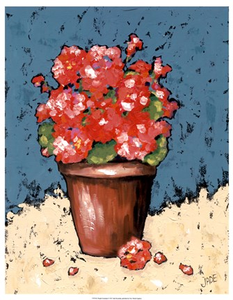Framed Bright Geraniums Print