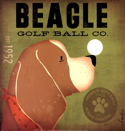 Framed Beagle Golf Ball Co Print