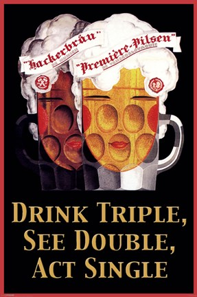 Framed Drink Triple, See Double, Act Print