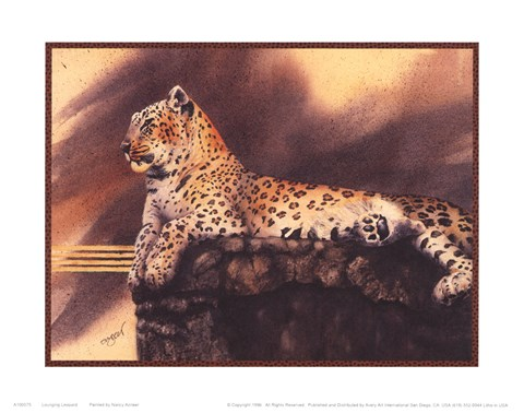 Framed Lounging Leopard Print